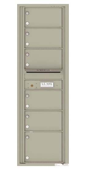 Recessed 4C Horizontal Mailbox – 6 Doors – Front Loading – 4C15S-06-CK25750 – Private Delivery Product Image