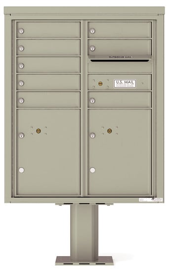 4CADD-08-P Commercial 4C Pedestal Mailboxes – 8 Tenant Doors 2 Parcel Lockers Product Image