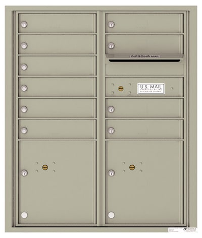 4C Horizontal Mailbox with 10 Doors 2 Parcel Lockers – Front Loading – 4CADD-10 Product Image