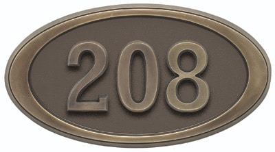 Gaines Small Oval Address Plaque with Antique Bronze Frame Product Image
