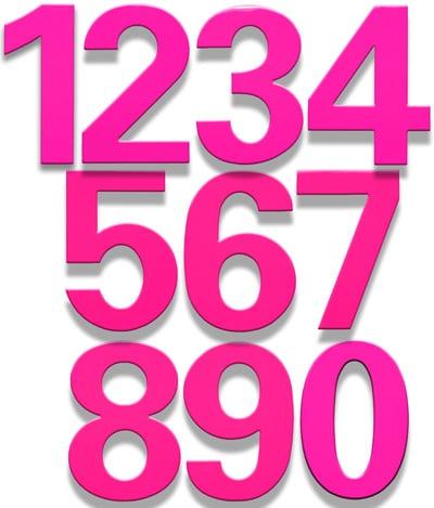 HouseArt 6 Inch House Numbers in Bougainvillea Pink Product Image