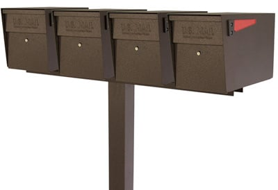 Mail Boss Quad Mount Locking Mailboxes with Post Product Image