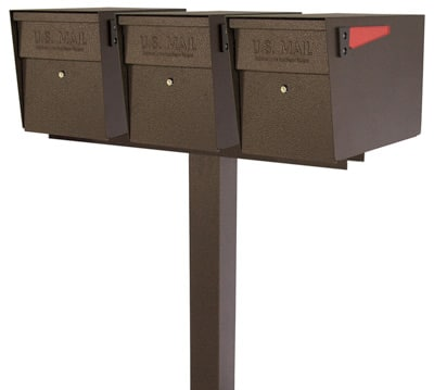 Mail Boss Triple Mount Locking Mailboxes with Post Product Image