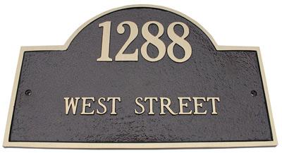 Majestic Brass Arch Marker Address Plaques