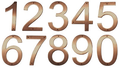 8 Inch Raw Brushed Satin Copper House Numbers Product Image