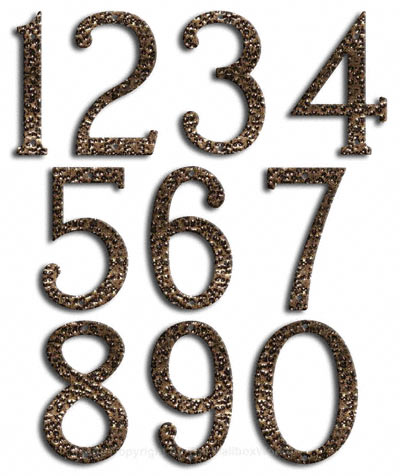 Medium Gold Vein House Numbers Majestic