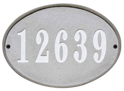 QualArc Oakfield Oval Crushed Stone Address Plaque Product Image