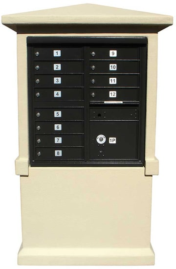 12 Door Cluster Mailbox Column in Decorative Stucco Product Image