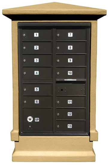 13 Door CBU Mailboxes Column Mounted in Stucco Product Image