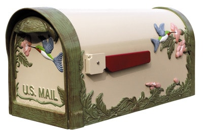 Hummingbird Natural Hand-Painted Post Mount Mailbox Product Image