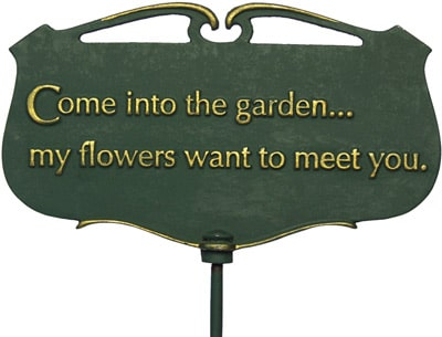 Whitehall Come Into The Garden Poem Sign Product Image