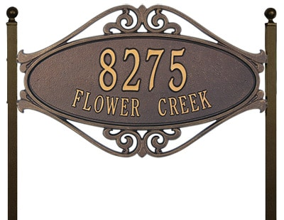 Whitehall Hackley Fretwork Oval Lawn Marker Address Plaque Product Image