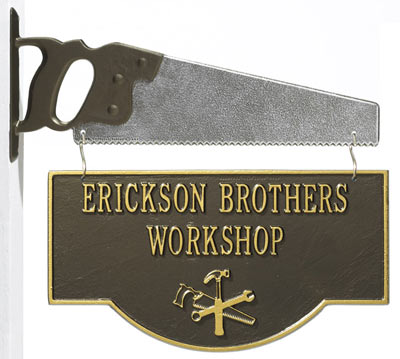 Whitehall Workshop 2-Sided Two Line Hanging Hobby Plaque With Bracket Product Image