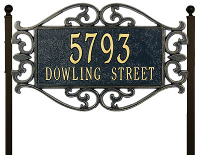 Whitehall Lewis Fretwork Rectangle Lawn Address Plaque Product Image