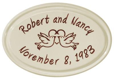 Whitehall Anniversary Heart Birds Petite Oval Ceramic Plaque Product Image