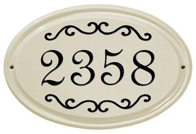 Whitehall Classic Scroll Oval Ceramic Address Plaque Product Image