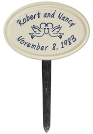 Anniversary Birds Oval Lawn Marker Blue