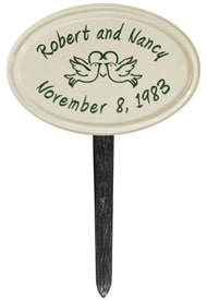 Anniversary Birds Oval Lawn Marker Green