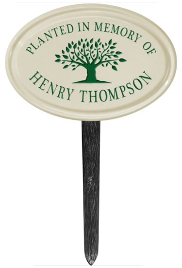 Whitehall Tree Memorial Petite Oval Ceramic Lawn Marker Product Image