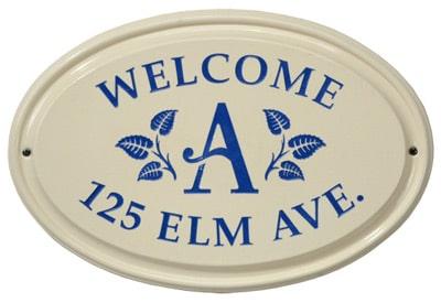 Whitehall Leaf Monogram Oval Ceramic Address Plaque Product Image