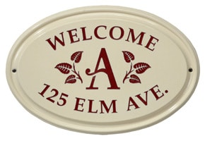 Whitehall Leaf Monogram Oval Plaque Red