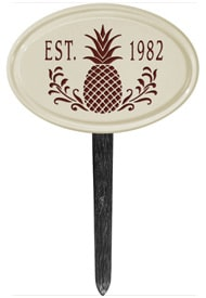 Pineapple Petite Oval Lawn Marker Red