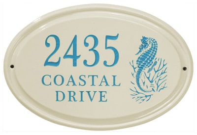 Whitehall Sea Horse Oval Ceramic Plaque
