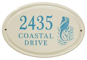 Whitehall Seahorse Oval Plaque Sea Blue