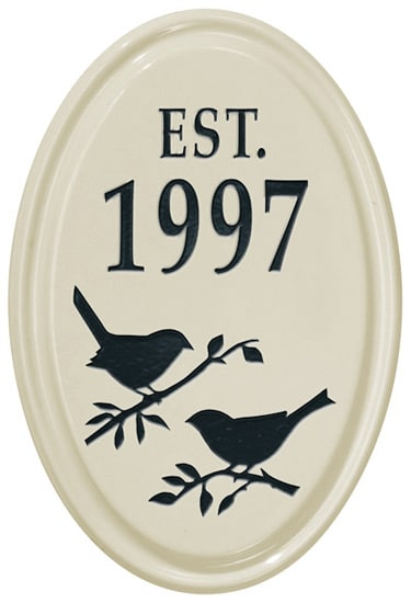 Whitehall Bird Silhouette Vertical Oval Ceramic Plaque Product Image
