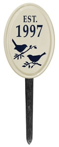 Bird Silhouette Vertical Oval Lawn Black