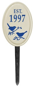 Bird Silhouette Vertical Oval Lawn Blue