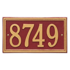 Whitehall Double Line Plaque Red Gold