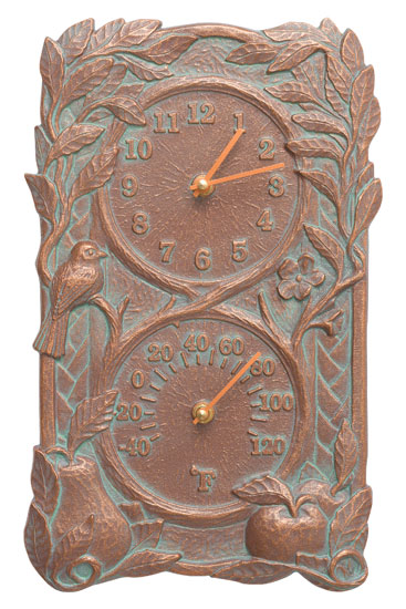 Whitehall Fruit Bird Clock And Thermometer Product Image