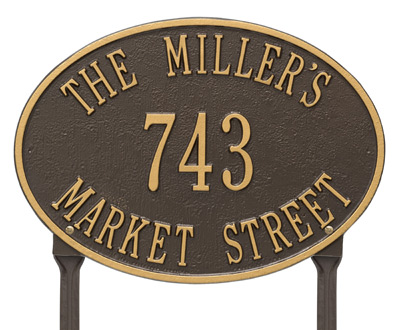 Whitehall Hawthorne Oval Lawn Marker Address Plaque Product Image