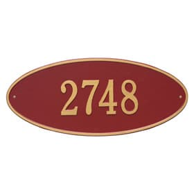 Whitehall Madison Oval Plaque Red Gold