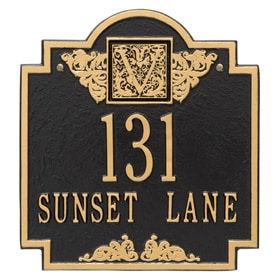 Whitehall Monogram Address Plaque Black Gold