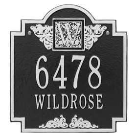 Whitehall Monogram Address Plaque Black Silver
