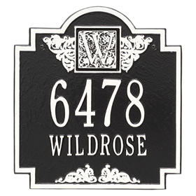 Whitehall Monogram Address Plaque Black White