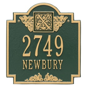 Whitehall Monogram Address Plaque Green Gold
