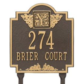 Whitehall Monogram Lawn Marker Bronze Gold