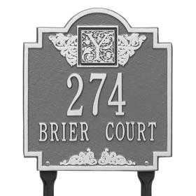 Whitehall Monogram Lawn Marker Pewter Silver
