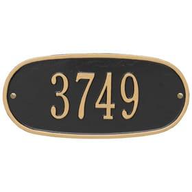 Whitehall Oval Address Plaque Black Gold