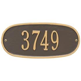 Whitehall Oval Address Plaque Bronze Gold