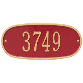 Whitehall Oval Address Plaque Red Gold