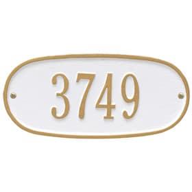 Whitehall Oval Address Plaque White Gold