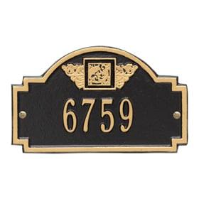 Whitehall Monogram Petite Plaque Black Gold