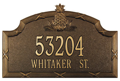 Whitehall Ribbon Reed Pineapple Address Plaque