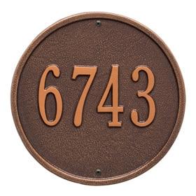 Whitehall Round Address Plaque Antique Copper