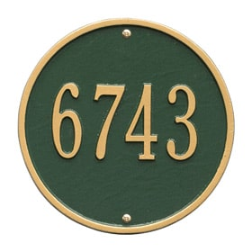 Whitehall Round Address Plaque Green Gold