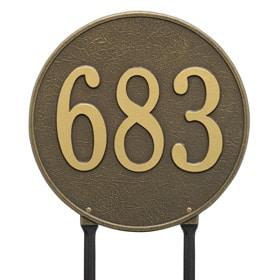 Whitehall Round Lawn Marker Antique Brass